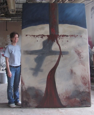 Latex paint on stretched paint tarp 8'x 5'